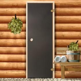 Дверь для бани и сауны стеклянная, 190×70см, 6мм, бронза матовая Ош