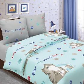 Детское постельное бельё ДайПоспать «Коржик», цвет голубой, 147х217 см, 150х220 см, 70х70 см - 2шт