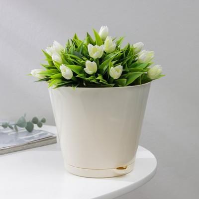 Кашпо с прикорневым поливом Easy Grow, 2 л, цвет молочный - Фото 1