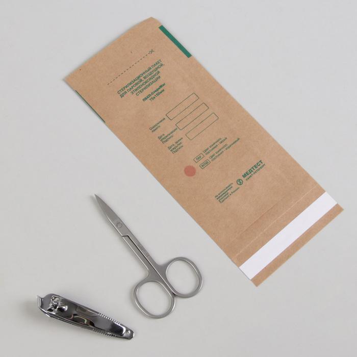Крафт-пакет для стерилизации, 75 150 мм, цвет коричневый