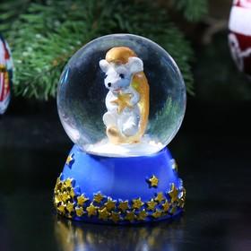 Сувенир полистоун водяной шар 'Мышонок на месяце' d=4,5 см 6,5х4,5х4,5 см Ош