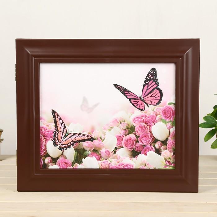 """Ключница """"Бабочки"""" орех 26х31х4,5 см"""