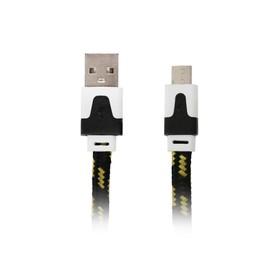 Кабель Ritmix RCC-211, micro USB-USB, тканевая оплетка, 1 м, черный