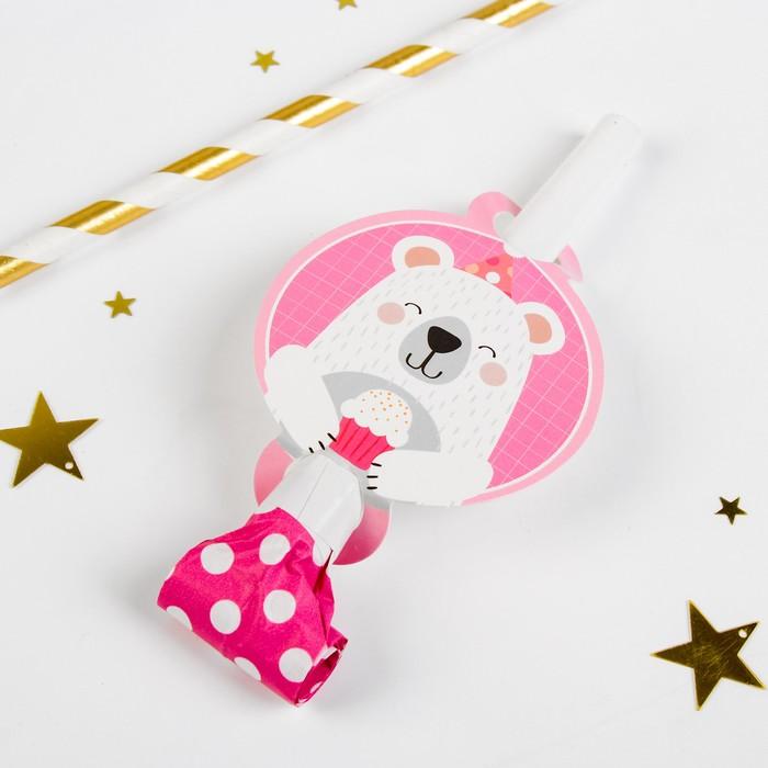 Карнавальный язычок Мишка, набор 6 шт., цвет розовый