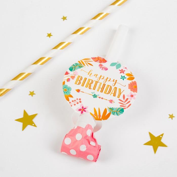 Карнавальный язычок С днём рождения, набор 6 шт.