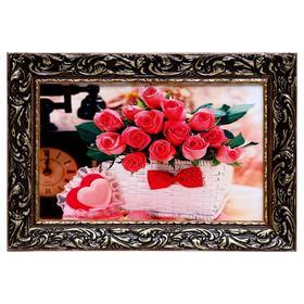 Картина 'Розы в корзине' 27х37см Ош
