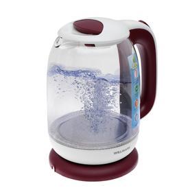 Чайник электрический WILLMARK WEK-1704G, стекло, 1.7 л, 2200 Вт, бело-красный
