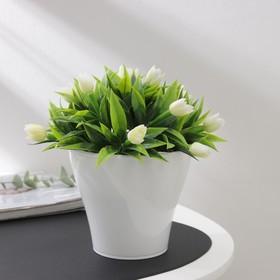 Кашпо со вставкой «Афина», 1 л, цвет белый