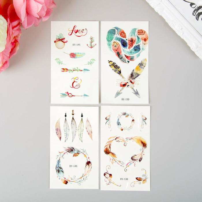 Татуировка на тело пластик Пёрышки и цветы МИКС 13х8 см