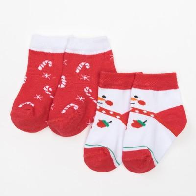 """Набор Крошка Я: носки 2шт """"Снеговик и леденцы"""", красный/белый, 14-16 см"""