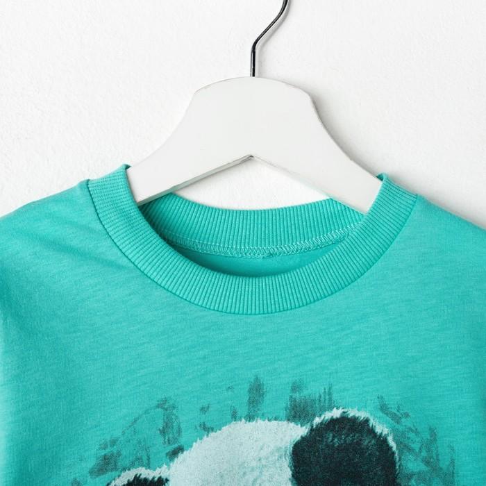 Пижама для мальчика, цвет бирюзовый/панда, рост 86 см (52)