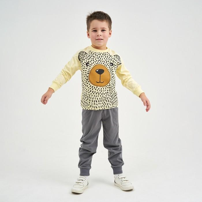 Пижама для мальчика, цвет бежевый/серый, рост 122-64