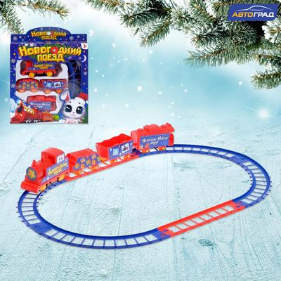 Железная дорога «Новогодний поезд», работает от батареек - Фото 1