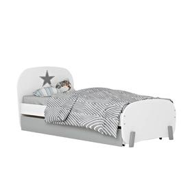 Кровать детская Polini kids Mirum 1915 c ящиком, цвет белый с серым Ош