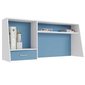 Надстройка для cтола Polini kids Aviv 1450, с ящиком и полкой, цвет белый-голубой