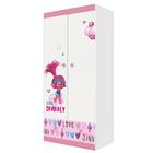Шкаф двухсекционный Polini kids Fun 890 «Тролли», розовый