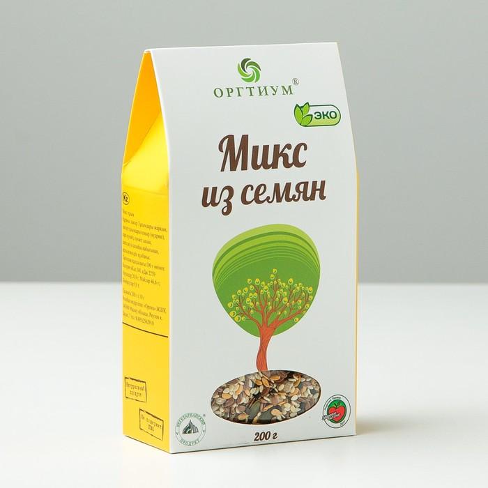 Микс из семян: лён тёмный и светлый, кунжут тёмный и светлый, очищенные тыквенные семечки и ядра подсолнуха, 200 г