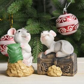 Копилка полистоун 'Серенький крысёныш на сундуке/золоте' МИКС 9,5х7х8,5 см Ош