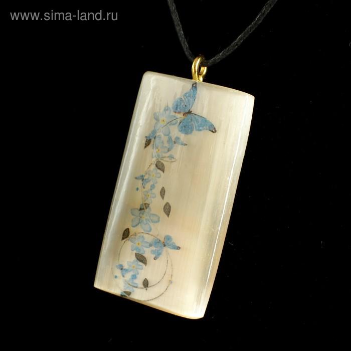 Кулон «Цветы с бабочками», 2,5×4 см, селенит (4521213 ...