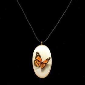 Кулон «Бабочки», 3D, 3×5,5 см, селенит Ош