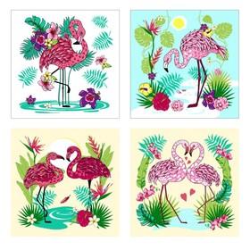 Разделочная доска-подставка «Фламинго», 18×18 см, цвет МИКС
