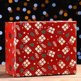 Складная коробка 'Новогодние елочки', 31,2 х 25,6 х 16,1 см Ош