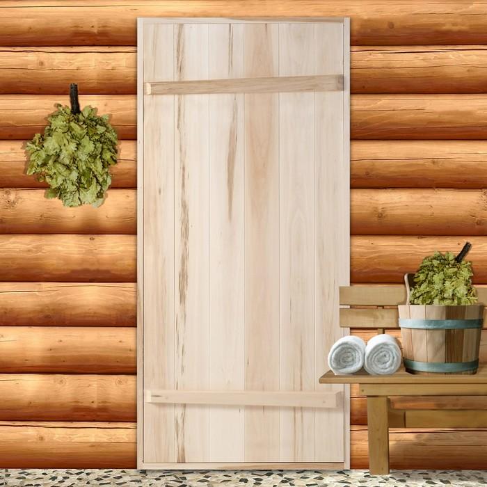 """Дверной блок для бани, 180×70см, из липы, на клиньях, массив, """"Добропаровъ"""""""
