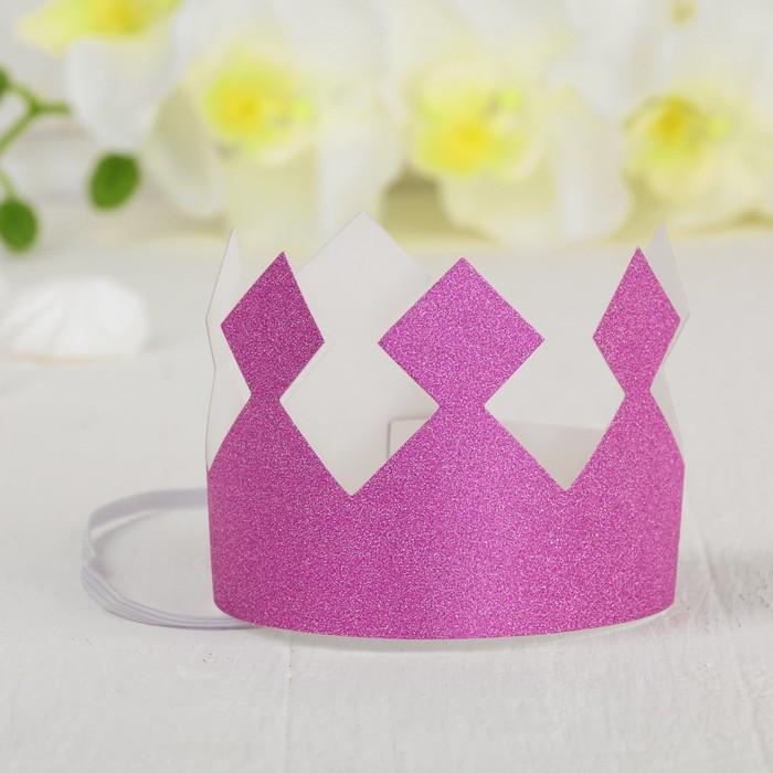 Корона Король, с блёстками, цвет розовый