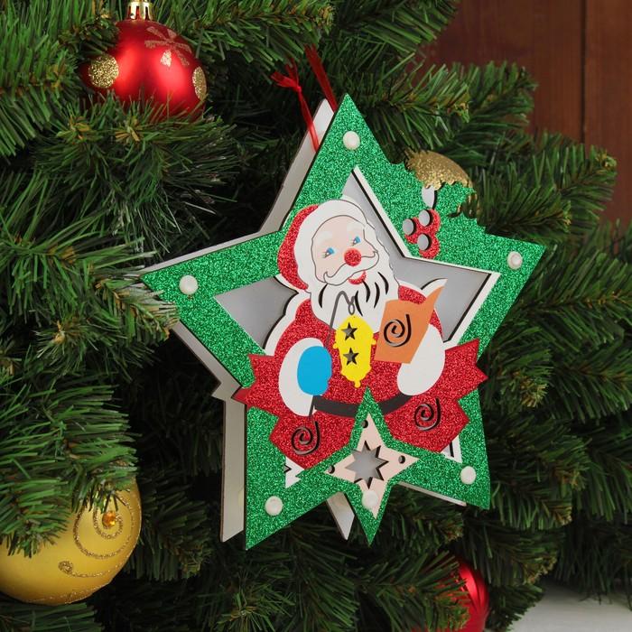 """Декор с подсветкой """"Дед мороз в звезде"""" 2,3×20×20 см"""