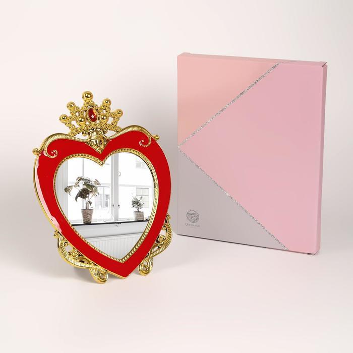 Зеркало интерьерное, на подставке, зеркальная поверхность — 14 × 14,5 см, красный/золотой