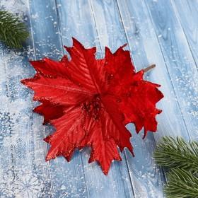 Декор 'Зимний цветок' 17*12 см красный резной Ош