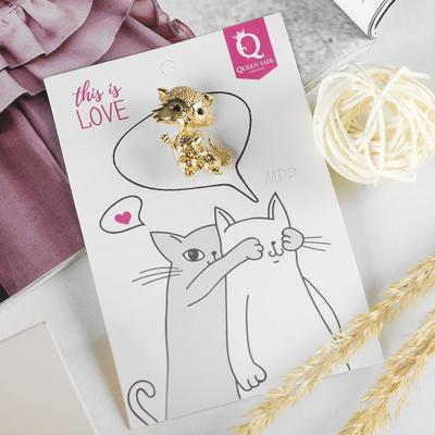 """Брошь """"Котёнок"""" милаш, цвет золота"""
