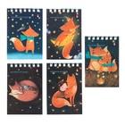 Блокнот А7, 40 листов на гребне «Волшебные лисы», мелованный картон, микс из 5 видов - Фото 1