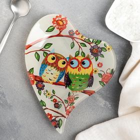 Блюдце Доляна «Совушки», 17,8×13,7×1,7 см
