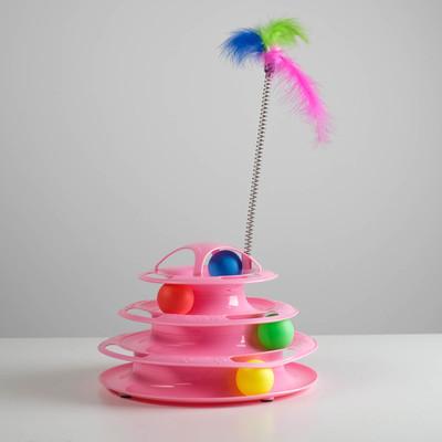 Игровой комплекс для кошек с 4 с шариками и дразнилкой-перьями на пружине, микс цветов - Фото 1
