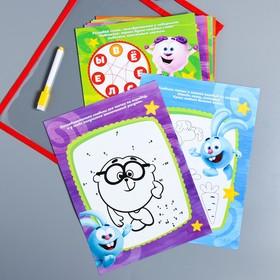 Развивающая игра «Пиши-стирай» в папке с карточками и маркером, СМЕШАРИКИ