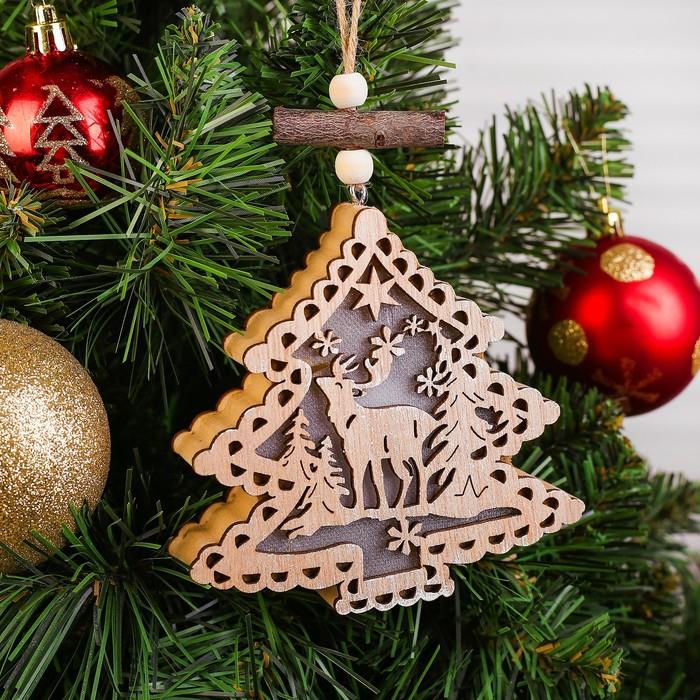 Декор с подсветкой «Ёлочка с оленем»