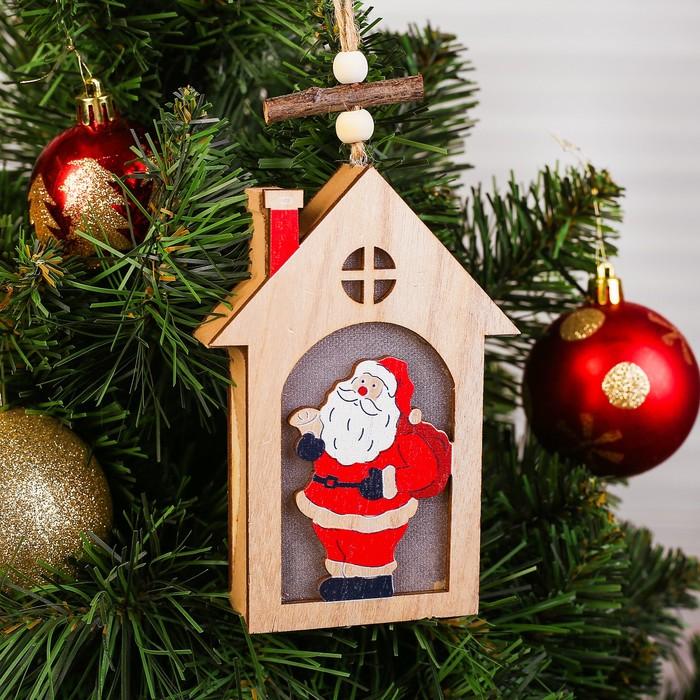 Декор с подсветкой «Дед мороз в домике»