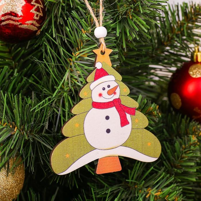 Подвеска новогодняя Снеговик на ёлке
