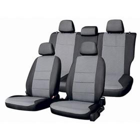 Чехлы на Nissan TERRANO с 05.2017-н.в., Comfort, c 05.17 Жаккард 12 пред, Skyway т-серый