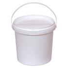 Ведро 1л круглое белое с белой крышкой