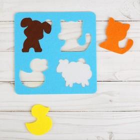 Логическая головоломка «Домашние животные» из фетра, 15х15 см Ош