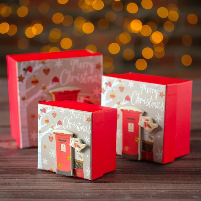 Наборк коробок 3 в 1 С рождеством, 13 х 13 х 8 - 9 х 9 х 6 см