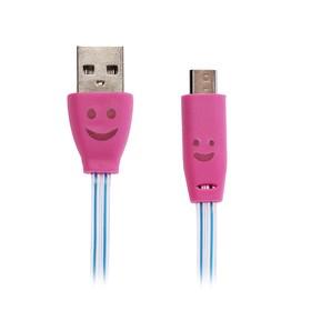 Кабель LuazON, microUSB - USB, 1 А, 1 м, плоский светящийся кабель, розово-синий Ош
