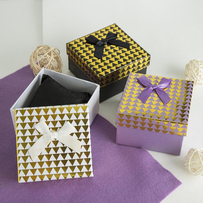 """Коробочка подарочная под браслет/часы """"Треугольники"""", 9*9 (размер полезной части 8,4х8,4см), цвет МИКС"""