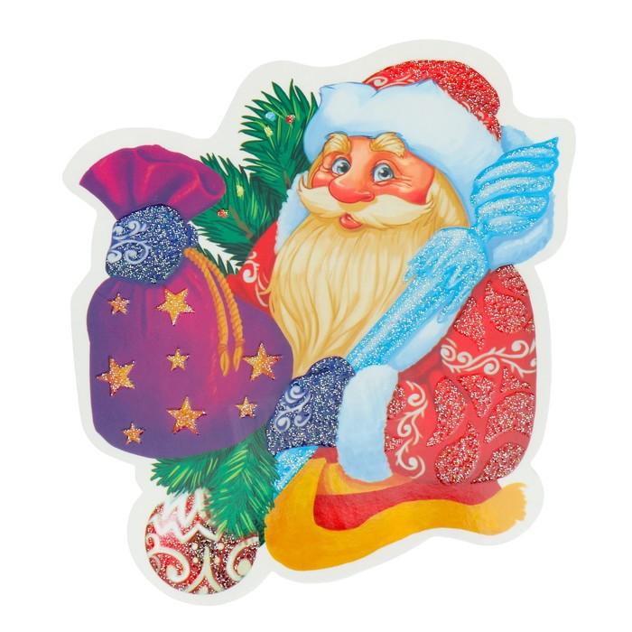 Украшение на скотче Дед Мороз глиттер, мешок с подарками