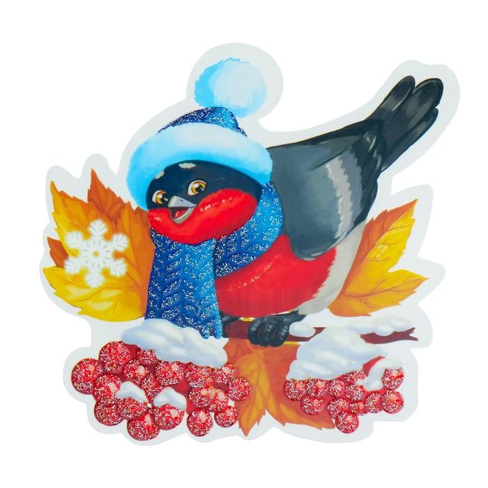 Украшение на скотче Снегирь глиттер, синяя шапочка, рябина