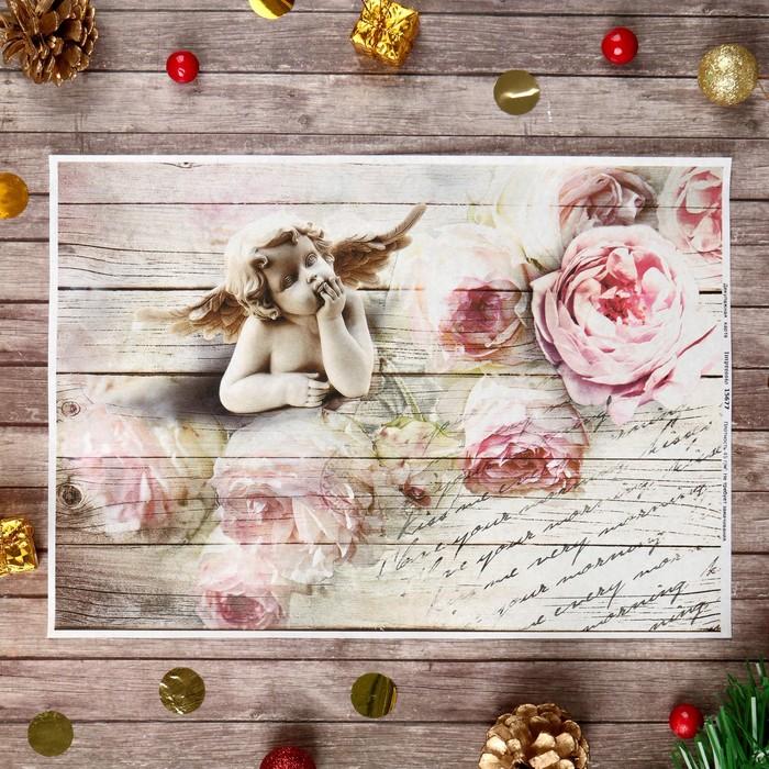"""Декупажная карта """"Ангел с розами"""" плотность 45 г/м2, формат А4"""