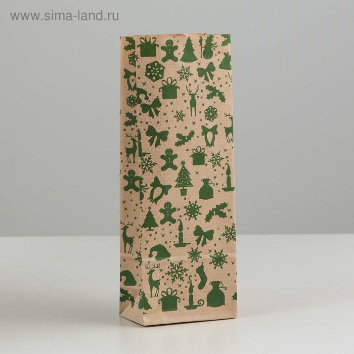 """Пакет бумажный фасовочный """"Новогодний зеленый"""", 8 х 5 х 22,5 см"""