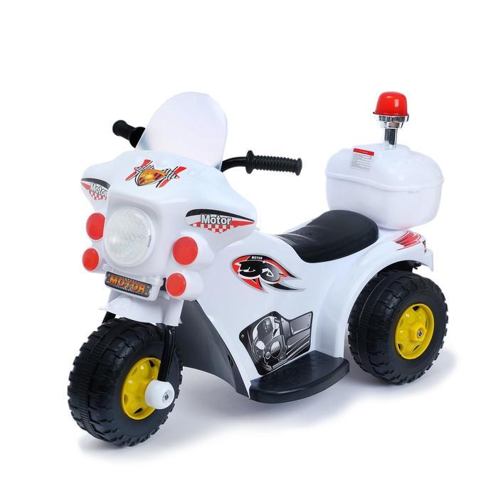 Детский электромобиль Мотоцикл шерифа, цвет белый